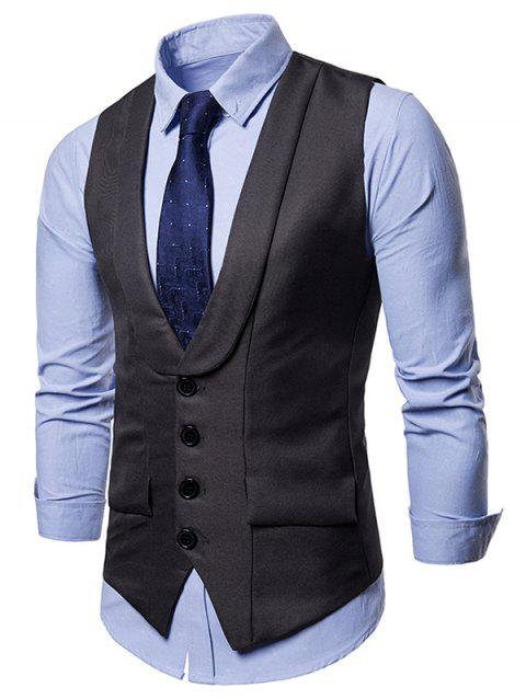 Adjustable Back Belt Layered Business Vest - GRAY M