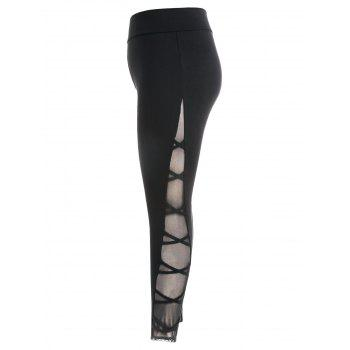 Plus Size Criss Cross Sheer Side Leggings - BLACK 3X