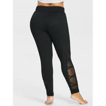 94206de202cef 2018 Plus Size Criss Cross Sheer Side Leggings BLACK X In Leggings ...