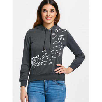 Two Tone Music Note Hoodie - DEEP GRAY 2XL