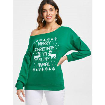 Stylish Letter and Snowflake Print Pullover Christmas Sweatshirt For Women - GREEN L