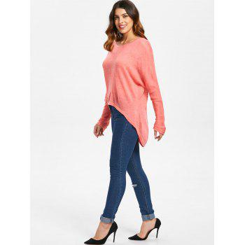 Dolman Sleeve Asymmetrical Pullover Sweater - BEAN RED L