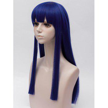 Anime Pop Team Epic Pipimi Cosplay Long Straight Synthetic Wig - BLUEBERRY BLUE