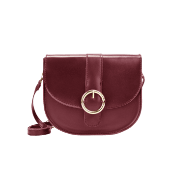 Round Buckled Flap Crossbody Bag - RED WINE