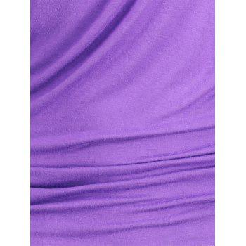 Chain Embellished Skew Neck Fitted T-shirt - PURPLE M