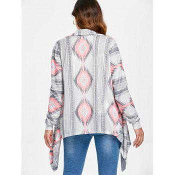 Vintage Long Sleeve Geometric Printed Asymmetric Cardigan For Women - PINK L