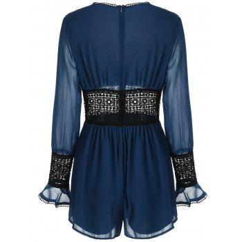 See Through Lace Crochet Romper - BLUE M