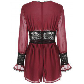 See Through Lace Crochet Romper - RED WINE S