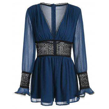 See Through Lace Crochet Romper - BLUE XL