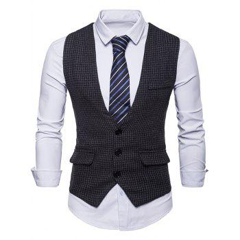 Single Breasted Plaid Suit Vest - BLACK XL