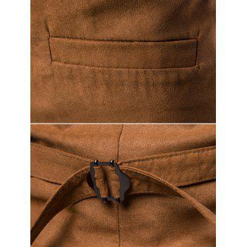 Single Breasted False Pockets Waistcoat - LIGHT BROWN L