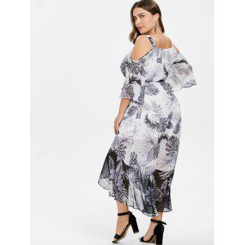 Plus Size Leaf Pattern Ruffle Overlap Dress - WHITE L