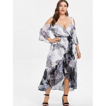 Plus Size Leaf Pattern Ruffle Overlap Dress - WHITE 1X