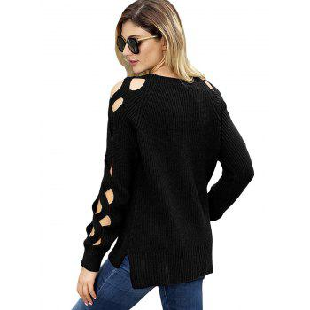 Side Slit Cutouts Sweater - BLACK S