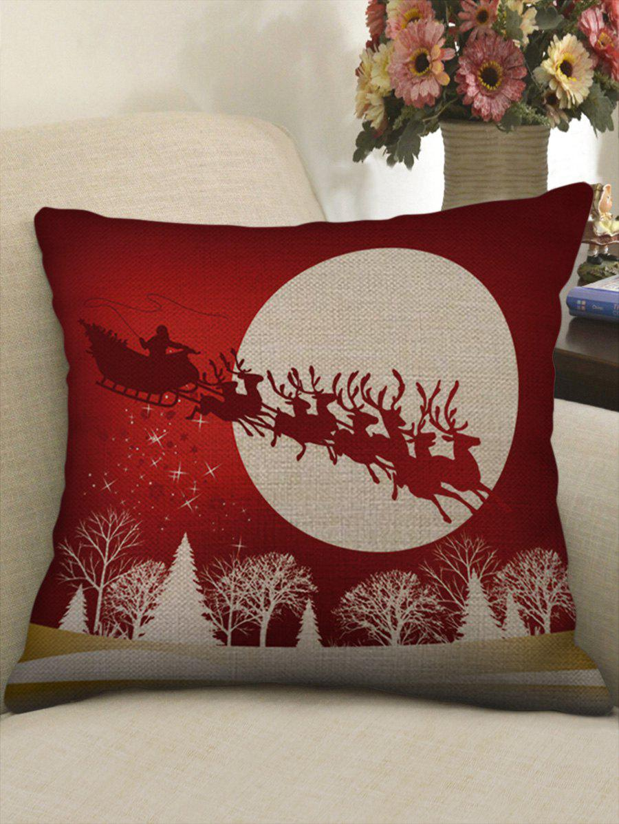 Christmas Santa Claus Deer Print Decorative Linen Pillowcase - multicolor W17.5 INCH * L17.5 INCH