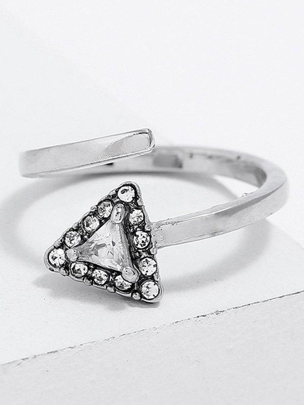Triangle Shape Rhinestone Cuff Ring - SILVER