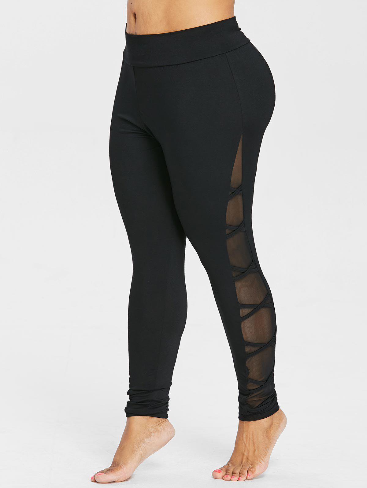 Plus Size Criss Cross Sheer Side Leggings - BLACK 4X