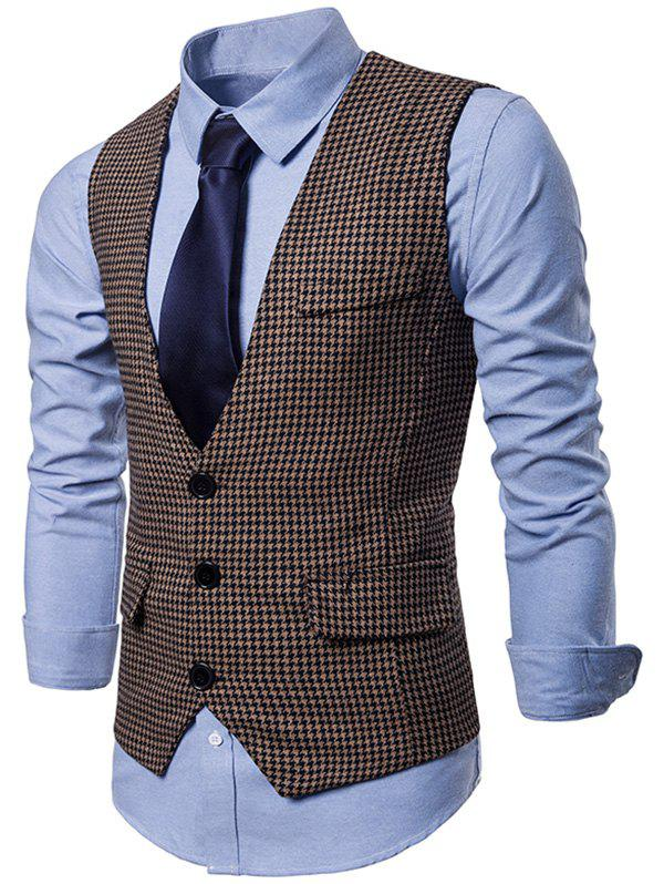Single Breasted Plaid Suit Vest - BROWN BEAR XL