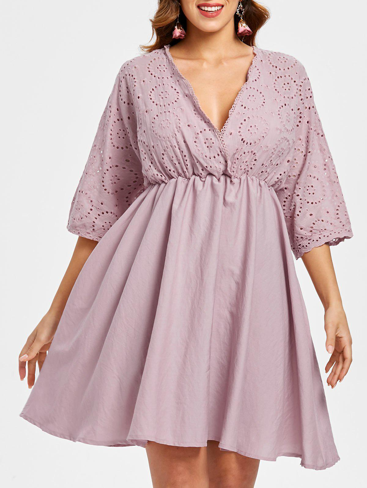 Back Self Tie Casual Dress - PINK M