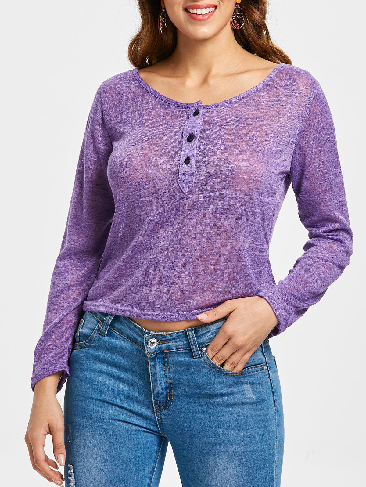 Pullover Long Sleeve Scoop Neck Solid Color Blouse For Women - PURPLE S