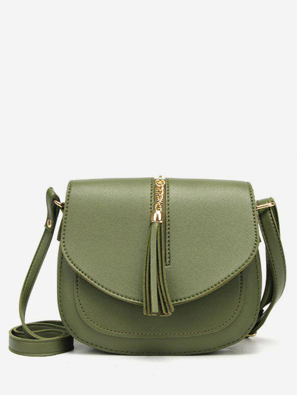 Zipper Tassels Embellished Crossbody Bag - GREEN