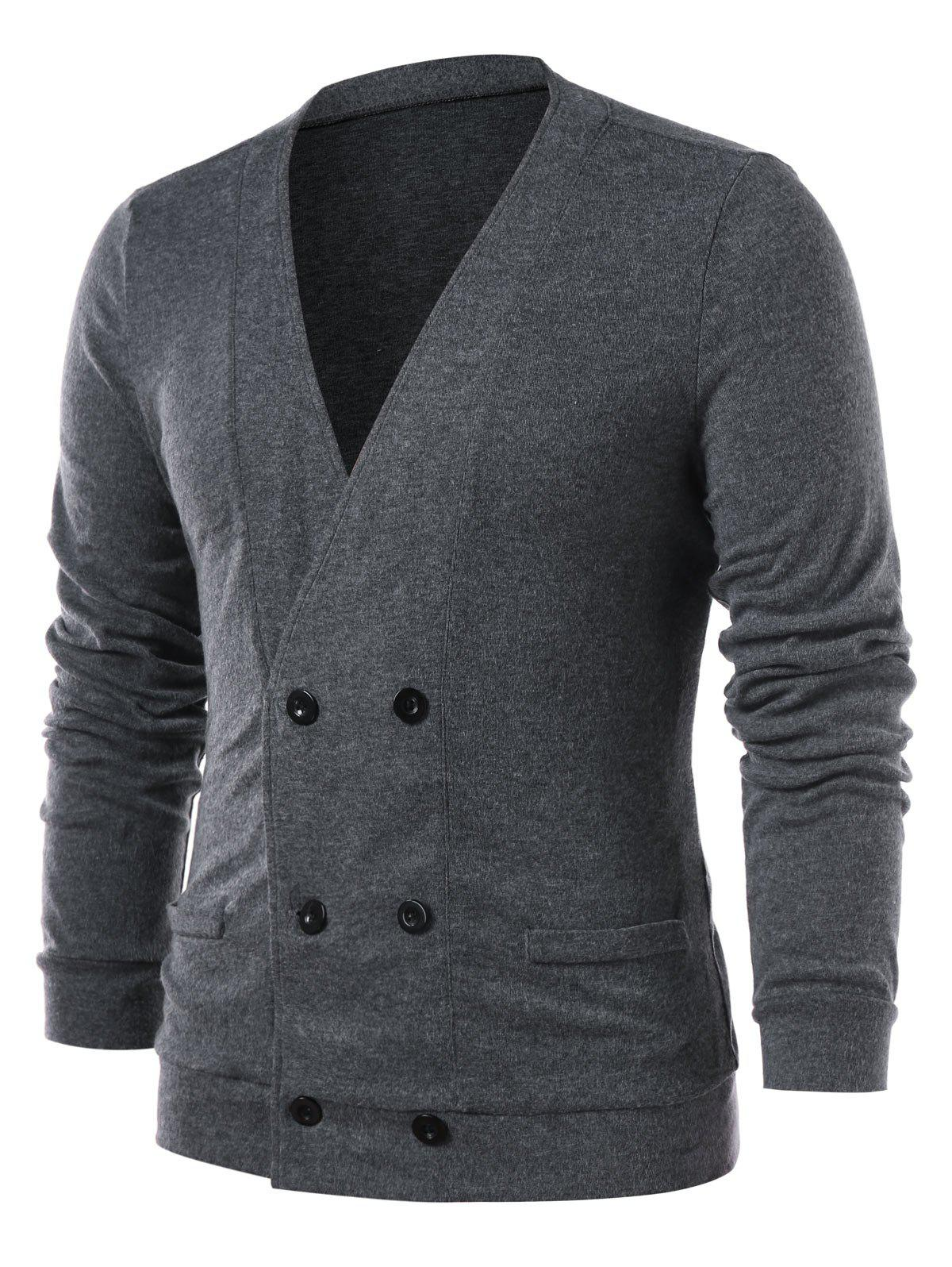 Collarless Double Breasted Solid Color Cardigan - GRAY L