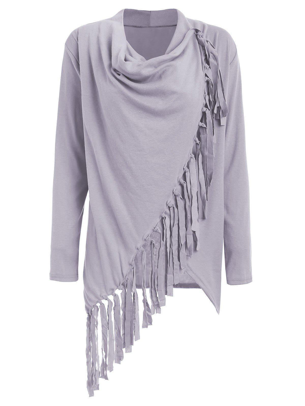 Asymmetric Long Sleeve Tassel Top - GRAY M
