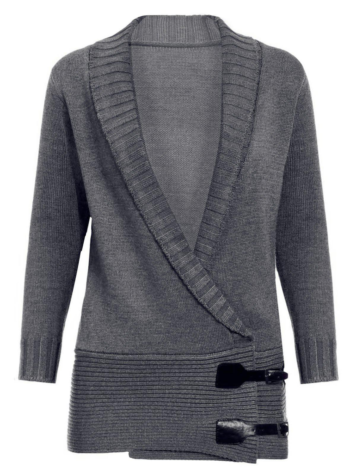 Chic Long Sleeve Shawl Collar Button Design Women's Sweater - GRAY XL