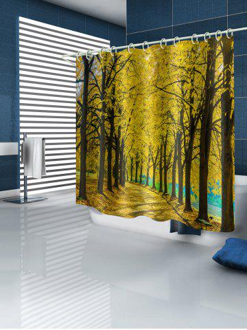 Golden Autumn Forest Woodland Print Waterproof Shower Curtain
