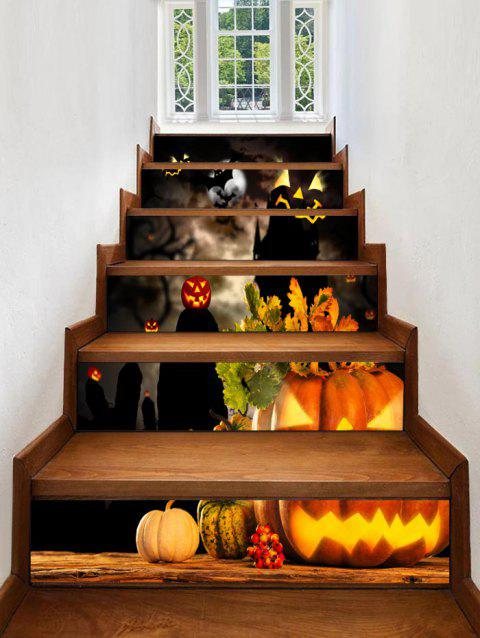 Halloween Pumpkins Print Stair Stickers - multicolor 6PCS:39*7 INCH( NO FRAME )