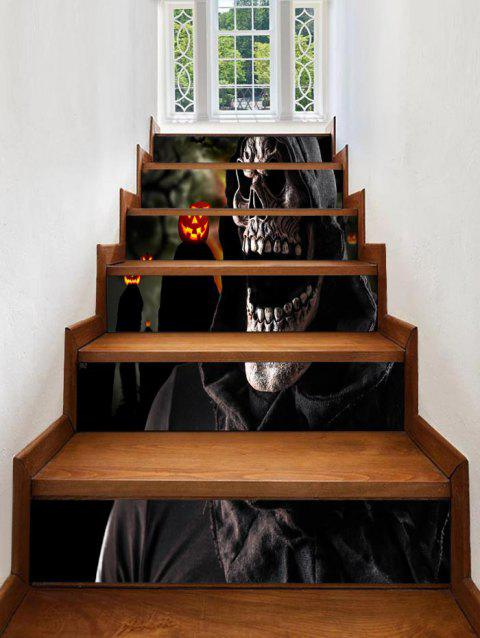 Halloween Death Print Stair Stickers - BLACK 100*18CM*6PCS
