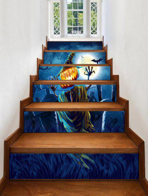 Halloween Moon Tomb Print Stair Stickers - multicolor 100*18CM*6PCS