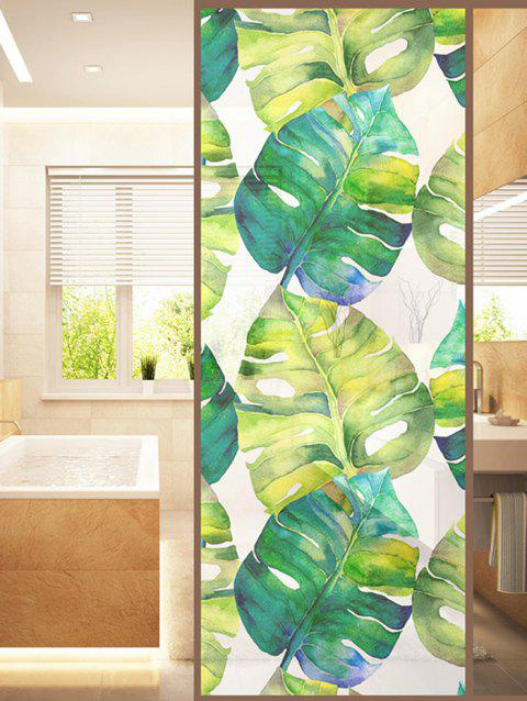 Palm Leaf Print Translucent Frosted Glass Sticker - GREEN 35*23 INCH