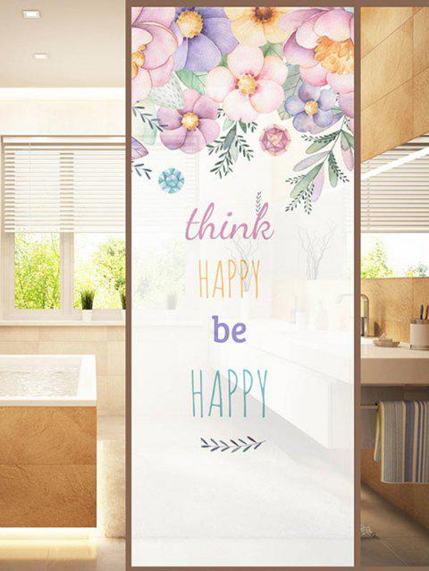 HAPPY Quote Print Translucent Frosted Glass Sticker - multicolor 35*23 INCH