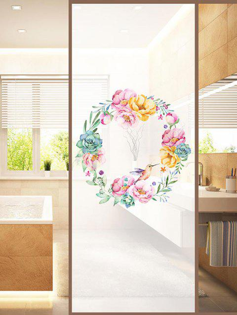 Floral Wreath Print Translucent Frosted Glass Sticker - multicolor 18*23 INCH