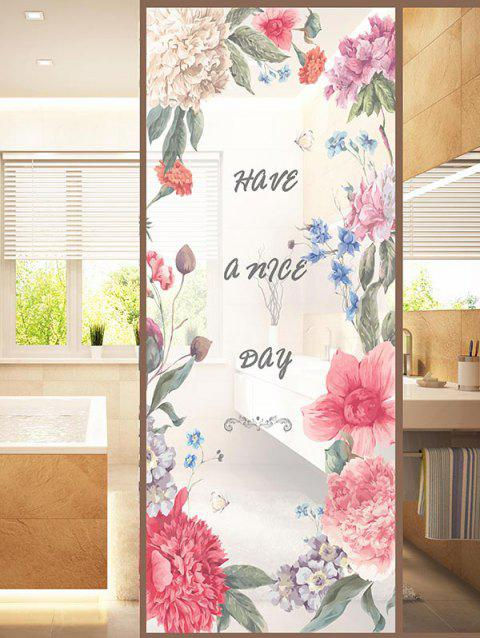 Flower Blossom Print Translucent Frosted Glass Sticker - multicolor 35*23 INCH