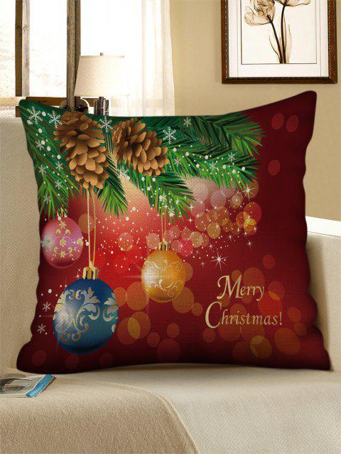 Merry Christmas Snowflake Pattern Decorative Linen Pillowcase - multicolor W17.5 INCH * L17.5 INCH