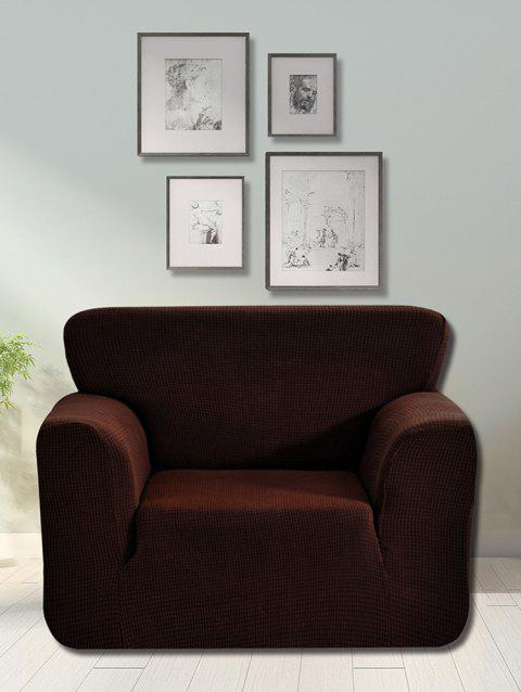 Checked Elastic Knitted Slipcover - CHOCOLATE SINGLE SEAT