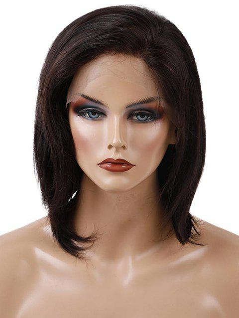 Short Free Part Straight Lace Front Human Hair Wig - NATURAL BLACK