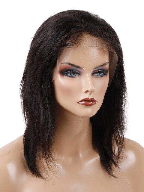 Medium Free Part Straight Party Lace Front Human Hair Wig - NATURAL BLACK