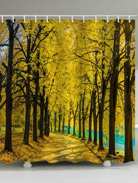 Golden Autumn Forest Woodland Print Waterproof Shower Curtain - multicolor W71 INCH * L71 INCH