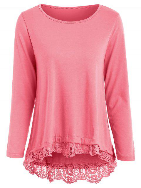 Charming Lace Spliced Hem Long Sleeve T-Shirt For Women - PINK XL