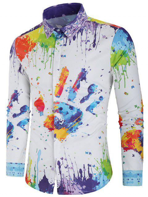 Colorful Splatter Handprint Paint Concealed Placket Shirt - multicolor 2XL
