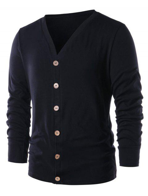 Button Up Collarless Solid Color Cardigan - BLACK 2XL