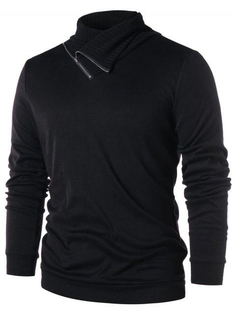 Casual Heaps Collar Zip Embellished T-shirt - BLACK XL