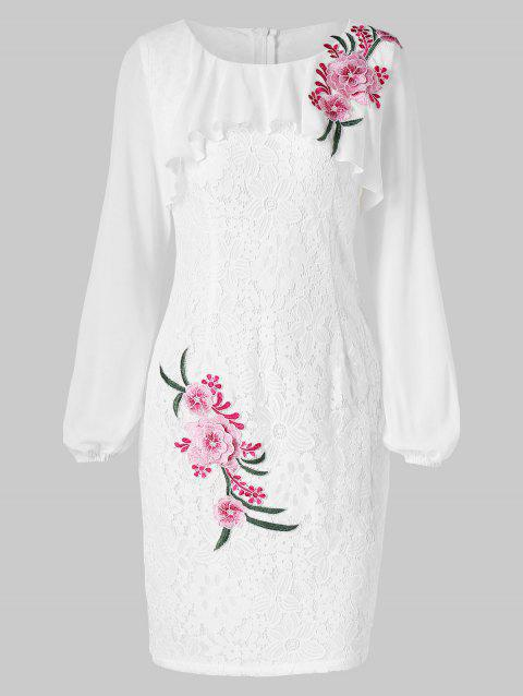 Embroidered Lace Bodycon Dress - WHITE M