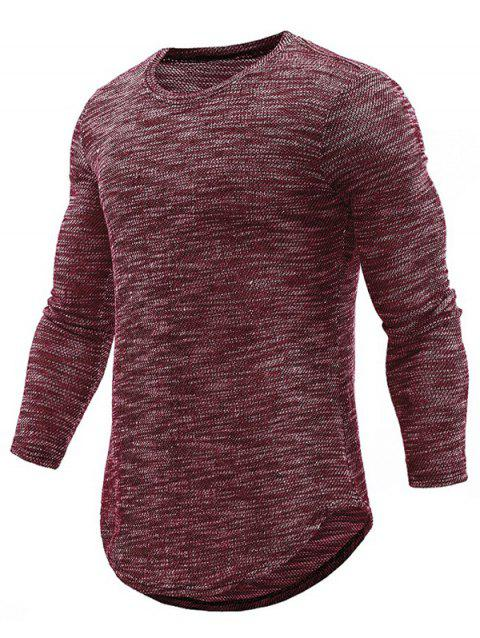 Textured Print Knit Curved Hem Long Sleeve T-shirt - RED WINE M
