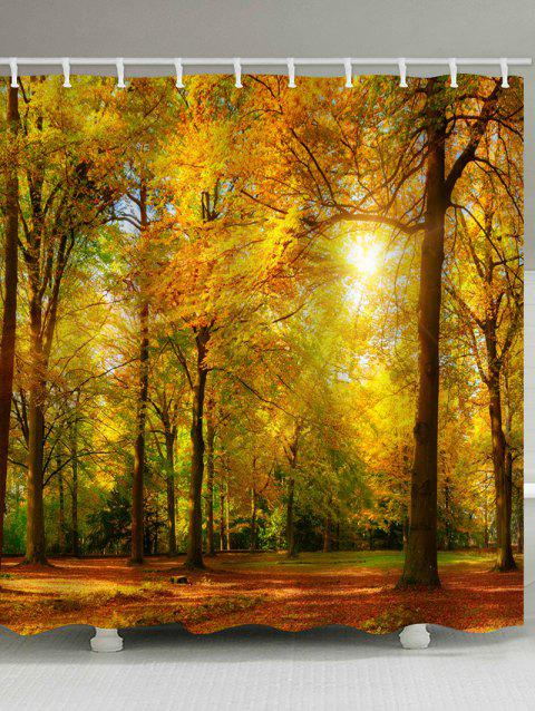 Sunny Autumn Forest Print Waterproof Shower Curtain - multicolor W59 INCH * L71 INCH