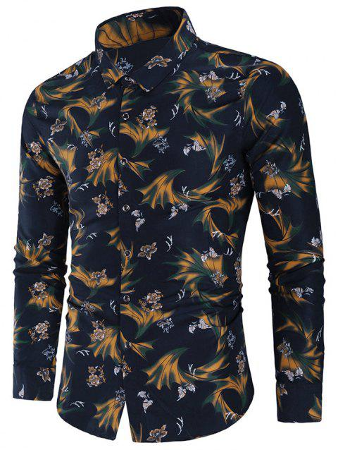 Flowers Leaves Print Long Sleeve Shirt - multicolor M
