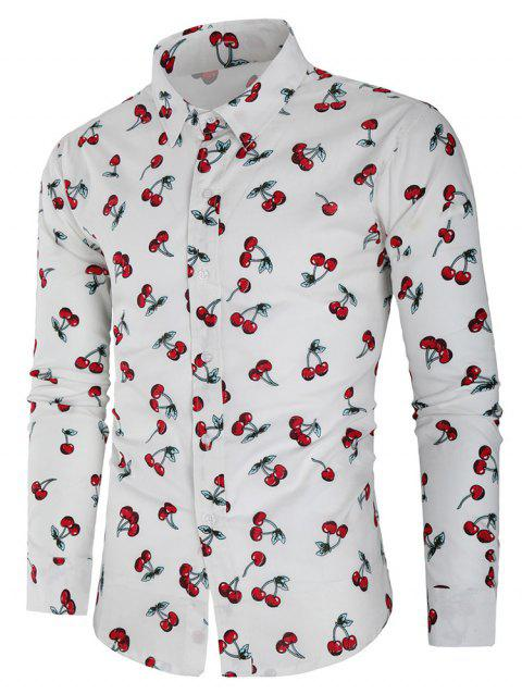 Casual Cherry Print Button Up Shirt - WHITE L